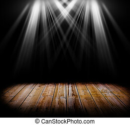 Lighting on a wooden floor - Two spot light on a wooden...