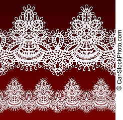 White openwork lace seamless border Realistic vector...