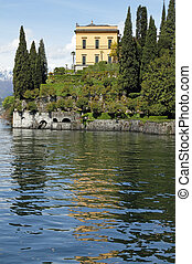 Villa Cipressi in fantastic scenery of lake Como seen from...