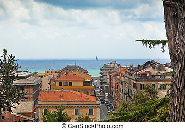 View of Chiavari and the sea, Italy
