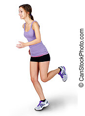 Young woman jogging over white background