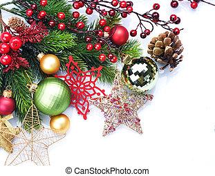Christmas border design over white