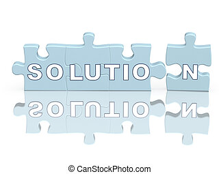 Solution - Word the solution on parts of a puzzle