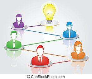 Teamwork Ideas - Abstract concept of business people finding...