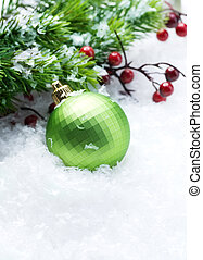sobre, Decorações, Natal, fundo, neve