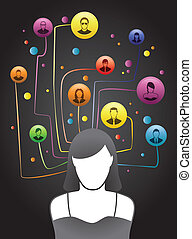 Friends Social Network - Girl depicted with social network...