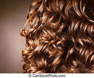 rizado, pelo, peluquería, onda, natural, pelo