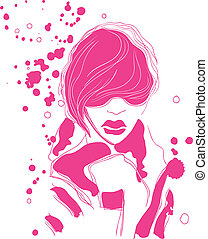 Fashionable - The abstract image - a girls face vector...