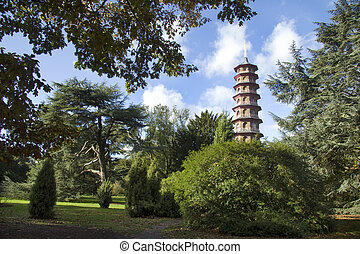 Kew Gardens - The famous Chinese pagoda in lush surroundings...