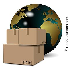 Global logistics service - A group of cardboard boxes with...