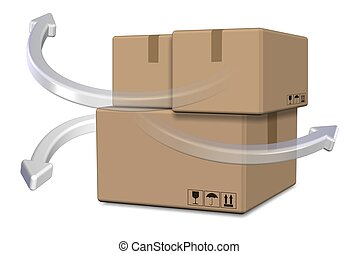 Logistics - A group of cardboard boxes with arrows going...