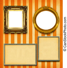 XXL size selection of picture frames on stripy wallpaper