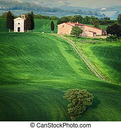 Chapel in Tuscany - Scenic view of typical Tuscany landscape