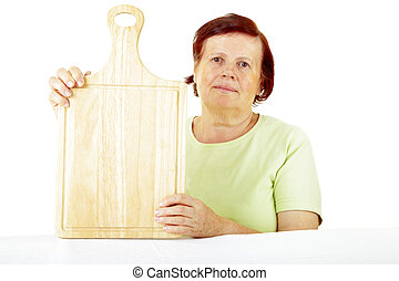 woman with cutting board