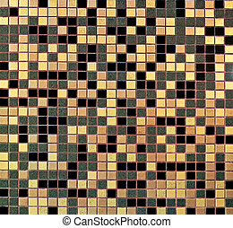 Golden tiles mosaic with black and grey