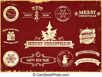 Set of Christmas vintage labels - Set of original Christmas...