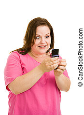 Amazed by Text Message - Pretty plus sized model amazed by...
