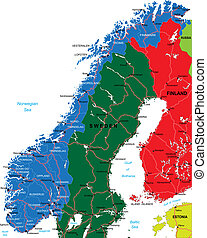 Norway map - Highly detailed vector map of Norway with...