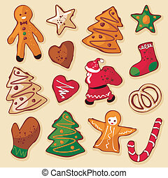 Christmas gingerbread cookies in various shapes