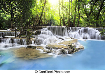 Erawan Waterfall in Kanchanaburi Province - Second level of...