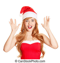 surprised christmas woman wearing a santa hat smiling...