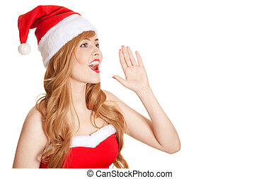 Young Beautiful Woman In Santa Hat Screaming