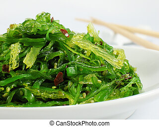 Seaweed Salad - Chuka seaweed salad garnished with sesame...
