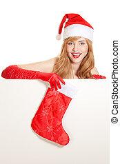 クリスマス, 女, クリスマス, ストッキング, 保有物