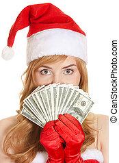 身に着けていること, 女,  santa, ドル, 紙幣, 保有物, 帽子, クリスマス