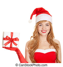 Young happy xmas woman holding gift