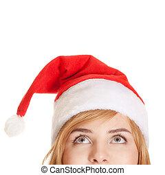 の上, 女, 隔離された, 見る, 白, クリスマス