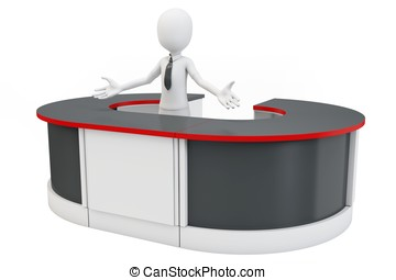 3d man businessman welcoming with open arms at helpdesk
