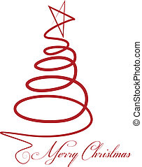 Christmas tree vector - Christmas red tree vector