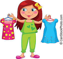 getting dressed - girl holding different outfits