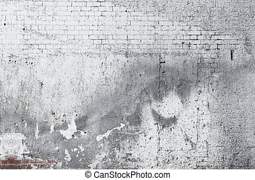 Cracked concrete old brick wall background - Cracked white...