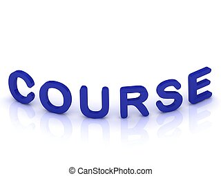 COURSE sign with bent letters on isolated white background