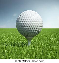 Golf ball on green grass field - White golf ball on green...