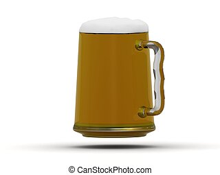 Beer mug with beer poured to the brim with foam on the...