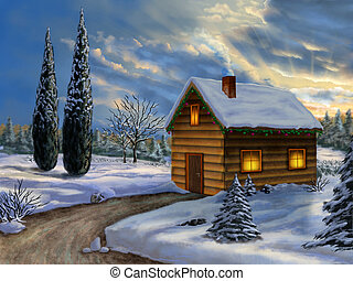 Christmas landscape - Wooden cabin in a snowy christmas...