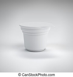 White food plastic container  isolated on white background
