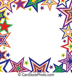 Rainbow Stars Border Vector - Illustration of bright rainbow...