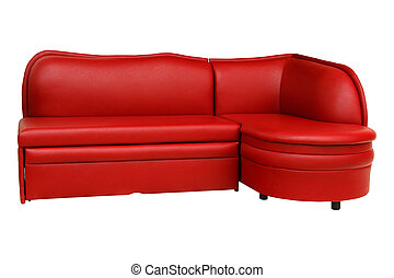 Isolated red sofa on white