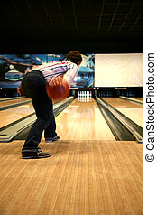 Tenpin Bowling - Bowling Sport - Player in Action - Motion...