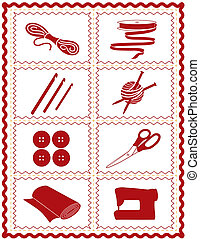 Sewing, Knit, Crochet, Craft Icons - Tools and supplies...