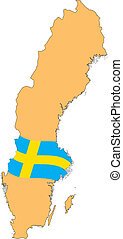 Map and Flag of Sweden Vector EPS