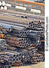 Stacked rusty steel pipe ready for shipment