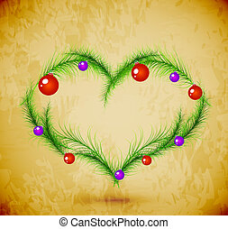 Christmas love heart with red decorations