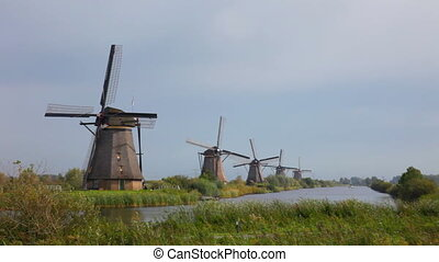 Beautiful landscape with windmills in Kinderdijk, Holland