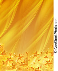 shining stars over golden background