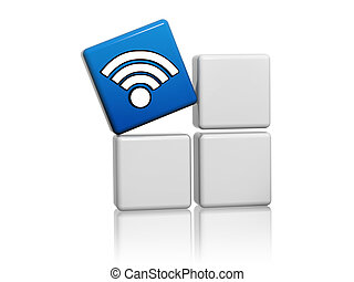 blue cube with wifi symbol like icon on boxes - 3d blue cube...